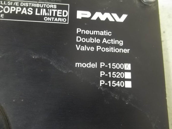 PMV P-1500 PNEUMATIC DOUBLE ACTING VALVE POSITIONER(AS PICTURED) *USED*
