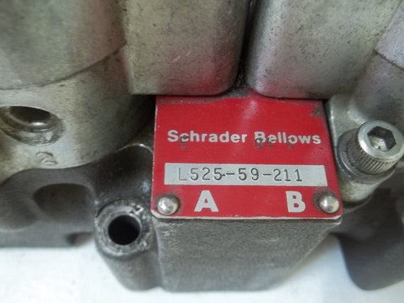 SCHRADER BELLOWS L525-59-21 DOUBLE SOLENOID VALVE *USED*