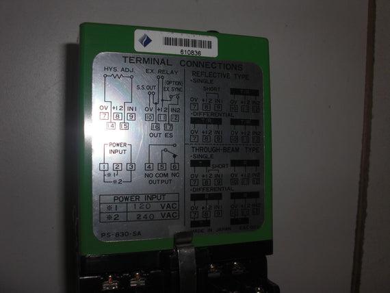 SUNX PS-830-SA CONTROL UNIT *USED*