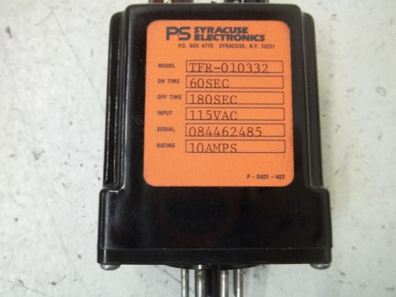 SYRACUSE ELECTRONICS TFR-010332 RELAY 115VAC  *USED*