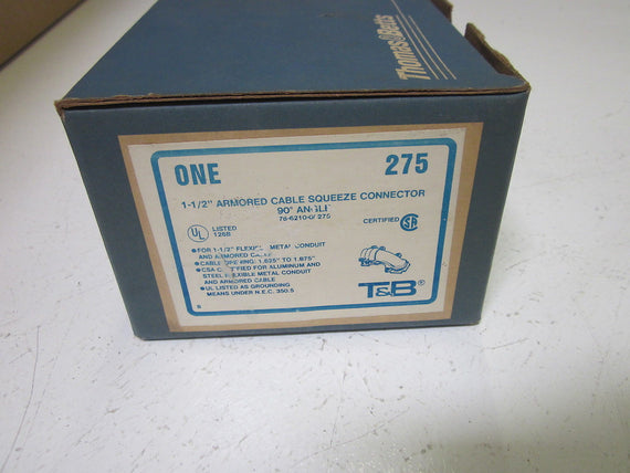 "THOMAS & BETTS 275 ARMORED CABLE SQUEEZE CONNECTOR  1-1/2"" *NEW IN BOX*"