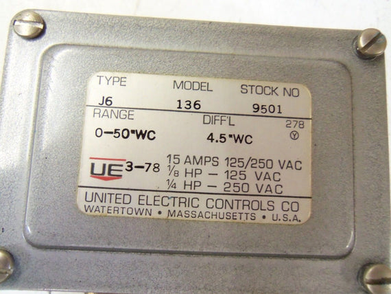 UNITED ELECTRIC J6-136-9501 PRESSURE SWITCH *USED*
