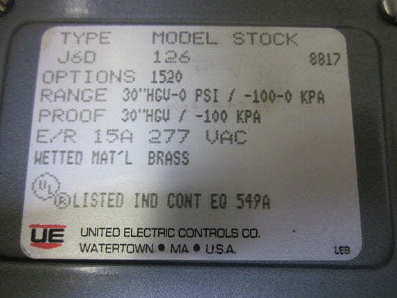 UNITED ELECTRIC 126 J6D-126 *NEW IN BOX*