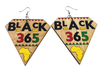 """Black 365"" Light Weight Wooden Earrings"