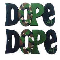 """Dope AF (Camouflage)"" Light Weight Wooden Earrings"