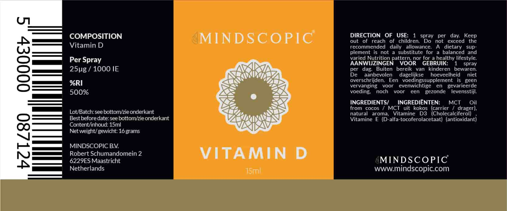 Mindscopic Vitamin D ingredients