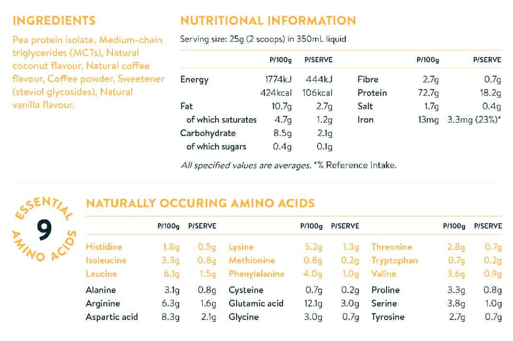 NuZest Clean Lean Protein Coffee Coconut + MCTs ingredients