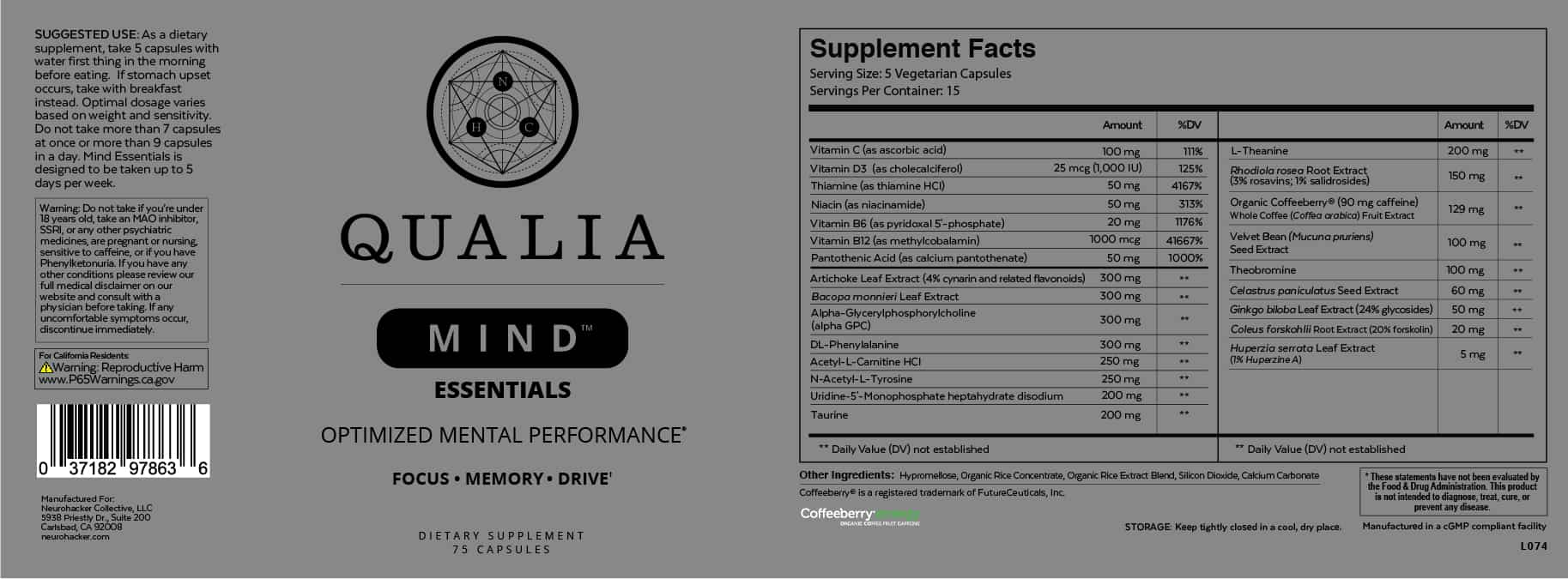Qualia Mind Essentials ingredients