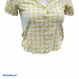 Primary Photo - BRAND: MADEWELL STYLE: TOP SHORT SLEEVE COLOR: GINGHAM SIZE: XS OTHER INFO: WHITE YELLOW SKU: 206-20618-93553