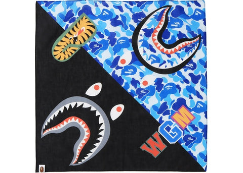 "BAPE SHARK ABC CAMO BANDANA ""BLACK/ABC BLUE CAMO"" - Sz O/S"