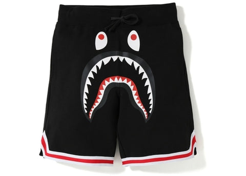 "BAPE SHARK BASKETBALL SWEAT SHORTS ""BLACK"" - Sz MEDIUM"