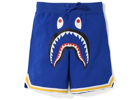 "BAPE SHARK BASKETBALL SWEAT SHORTS ""BLUE"" - Sz LARGE"