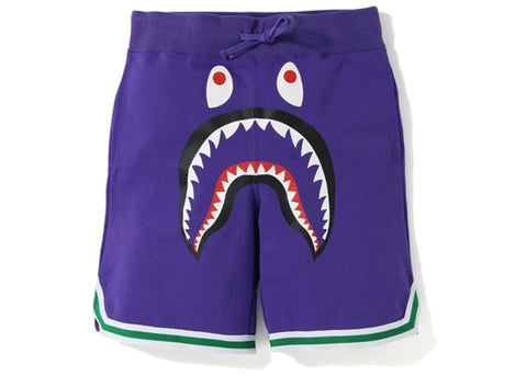 "BAPE SHARK BASKETBALL SWEAT SHORTS ""PURPLE"" - Sz LARGE"