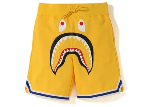 "BAPE SHARK BASKETBALL SWEAT SHORTS ""YELLOW"" - Sz LARGE"