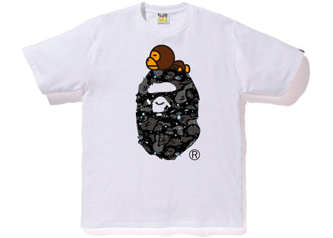 "BAPE BIG APE HEAD MILO SPACE CAMO TEE ""WHITE"" - Sz LARGE"