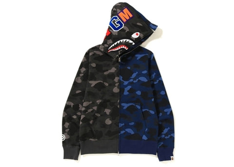 "BAPE SHARK WGM FULL ZIP HOODIE ""BLACK CAMO/BLUE CAMO"" - Sz LARGE"