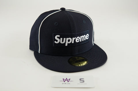 "SUPREME NEW ERA BOX LOGO FITTED CAP ""NAVY"" - Sz 7 1/4"