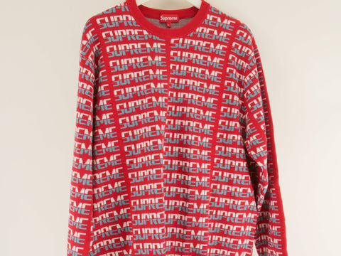 "SUPREME REPEAT SWEATER ""RED"" - Sz XL"