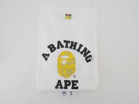 "BAPE COLLEGE TEE ""REFLECTIVE YELLOW CAMO"" - Sz 2XL"