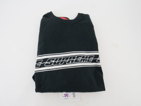 SUPREME STRIPED RAGLAN SWEATER - Sz LARGE