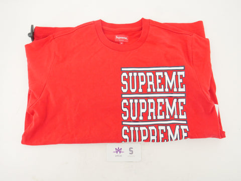 "SUPREME STACKED S/S TOP ""RED"" - Sz MEDIUM"