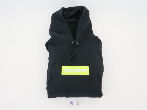 "SUPREME BOX LOGO HOODED SWEATSHIRT ""BLACK/NEON"" FW2017 - Sz LARGE"