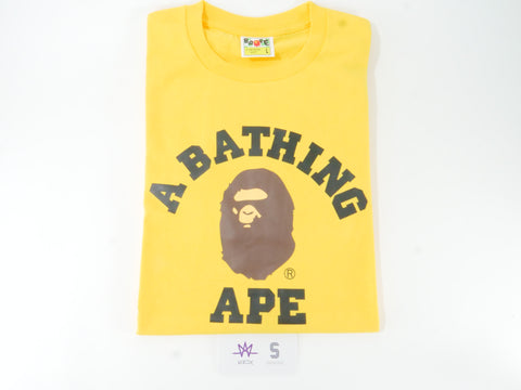 "BAPE COLLEGE L/S TEE ""YELLOW"" - Sz LARGE"