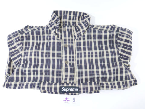 "SUPREME TARTAN PLAID TEE ""NAVY"" - Sz LARGE"