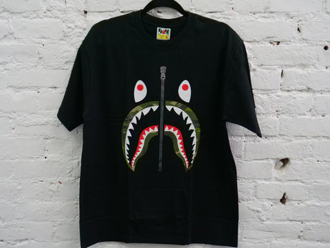 "BAPE SHARK GREEN CAMO LIP TEE ""BLACK - Sz XXX-LARGE"