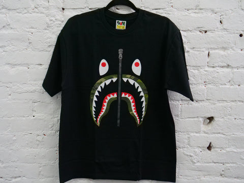 "BAPE SHARK GREEN CAMO LIP TEE ""BLACK"" - Sz X-LARGE"