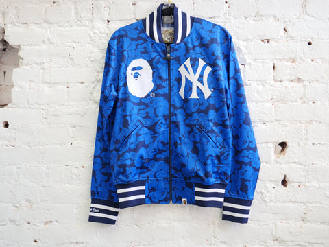 "BAPE MITCHELL AND NESS YANKEES JACKET ""BLUE CAMO"" - Sz LARGE"