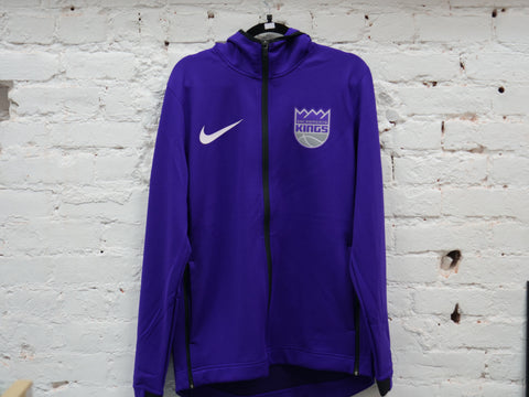 "NIKE SACRAMENTO KINGS LOGO ON COURT WARM UP ZIP JACKET ""PURPLE"" - Sz LARGE"