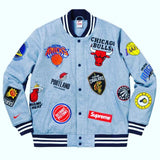 "SUPREME X NBA LOGO VARSITY JACKET ""DENIM"" - Sz LARGE"