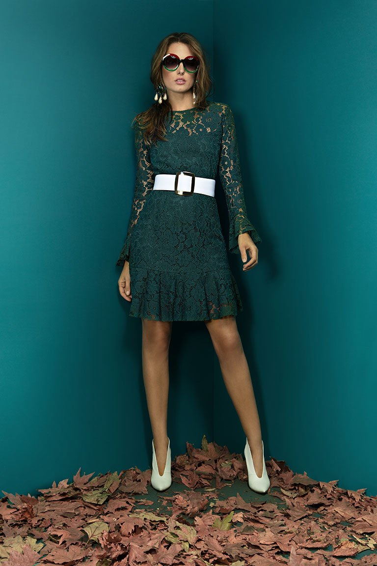 LACE DRESS WITH RUFFLE DECORATIVE IN SLEEVES GREEN