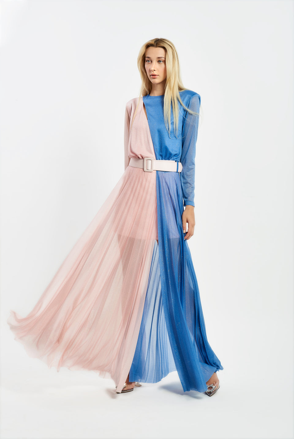 TWO-COLOR MAXI DRESS IN LUREX FABRIC PINK