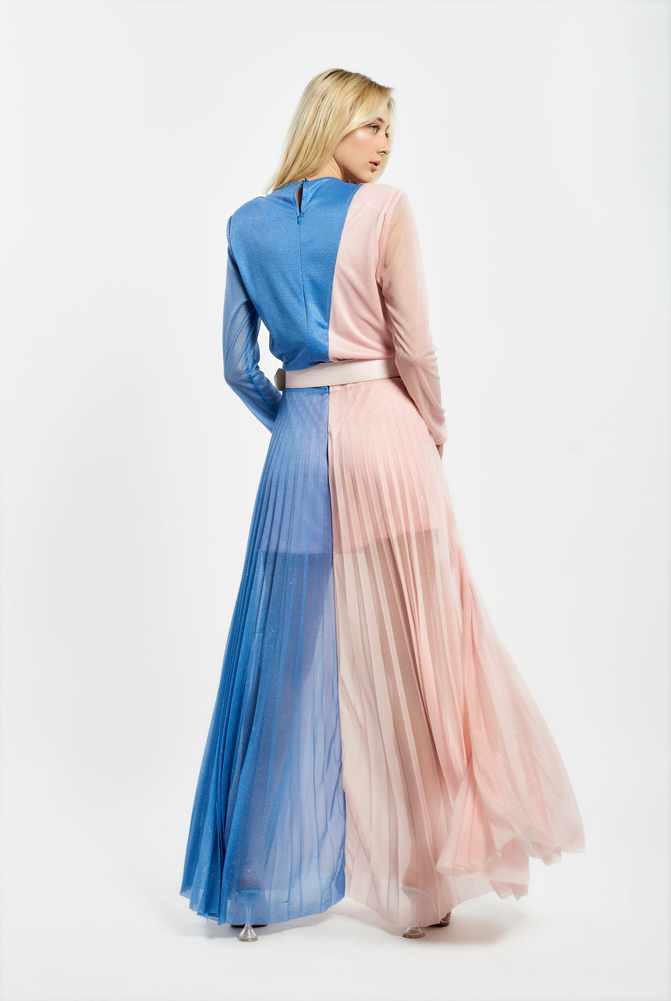 TWO-COLOR MAXI DRESS IN LUREX FABRIC BLUE