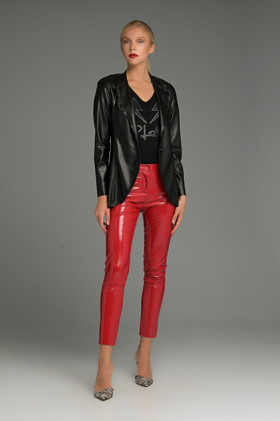 WAISTED FAUX LEATHER JACKET