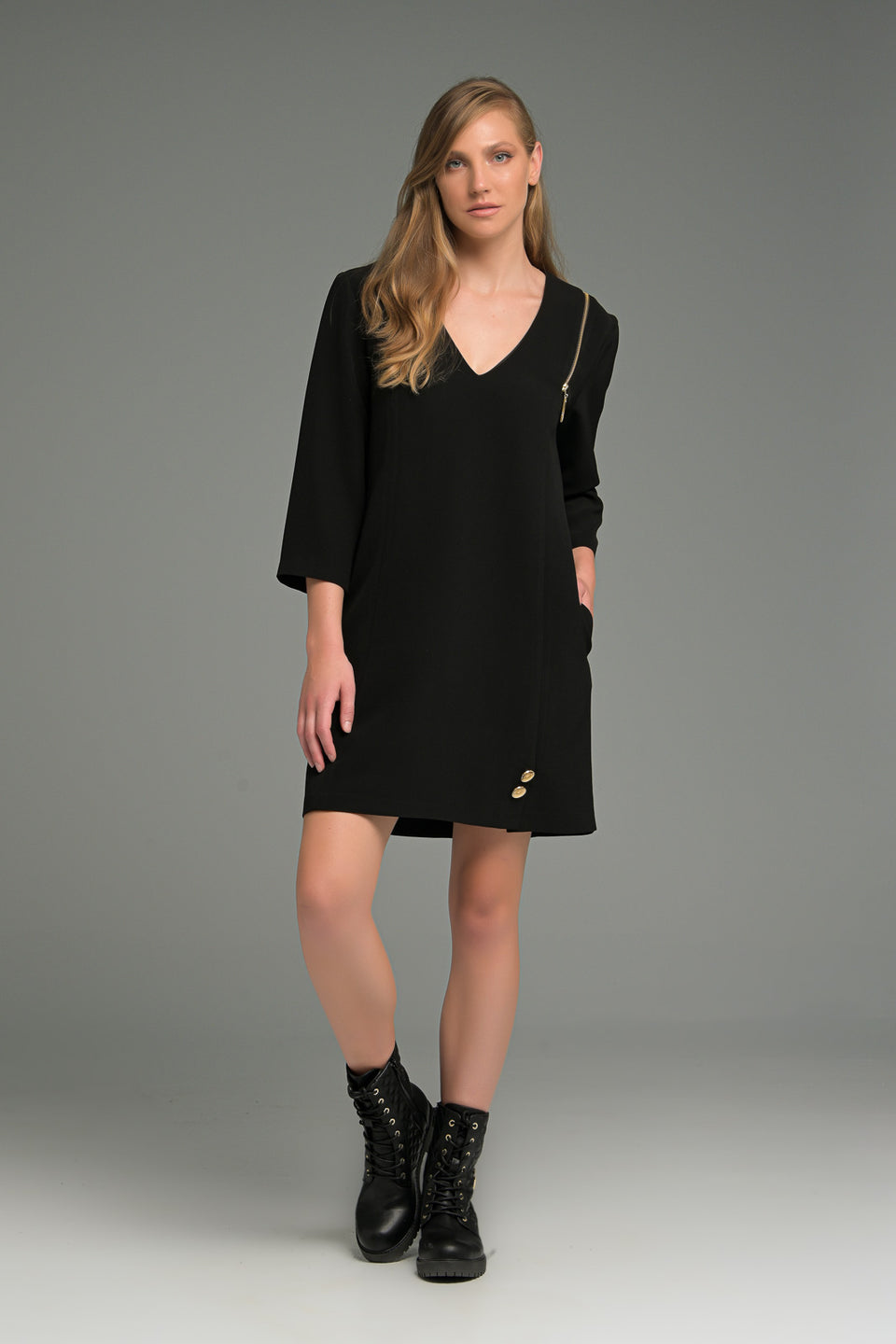 A-LINE DRESS WITH DECORATIVE ZIPPER  AND 3/4 SLEEVE A-LINE DRESS WITH DECORATIVE ZIPPER  AND 3/4 SLEEVE