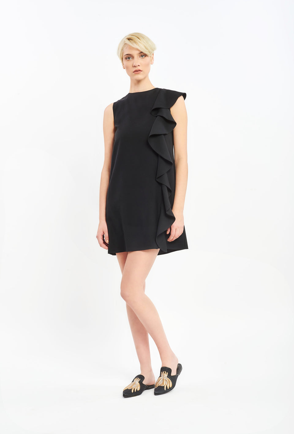 A-LINE DRESS WITH RUFFLE DECORATIVE BLACK
