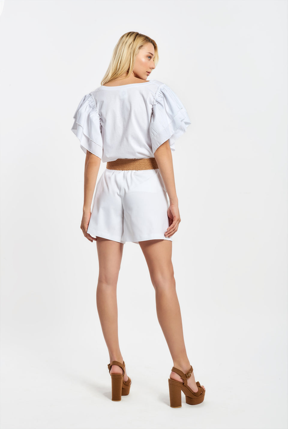 HIGH WAIST SHORTS WITH PLEATS WHITE