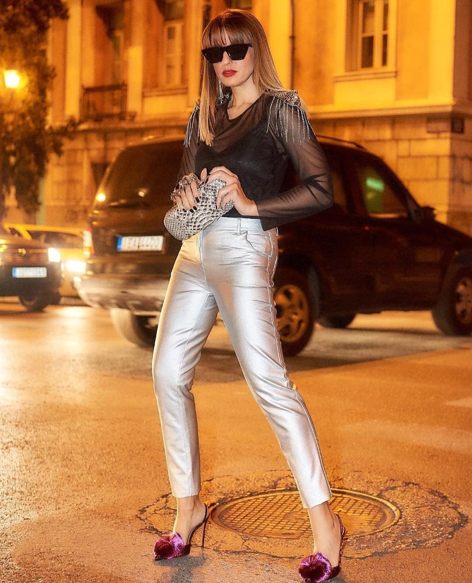 ELASTIC SKINNY TROUSERS IN METALLIC FABRIC ELASTIC SKINNY TROUSERS IN METALLIC FABRIC