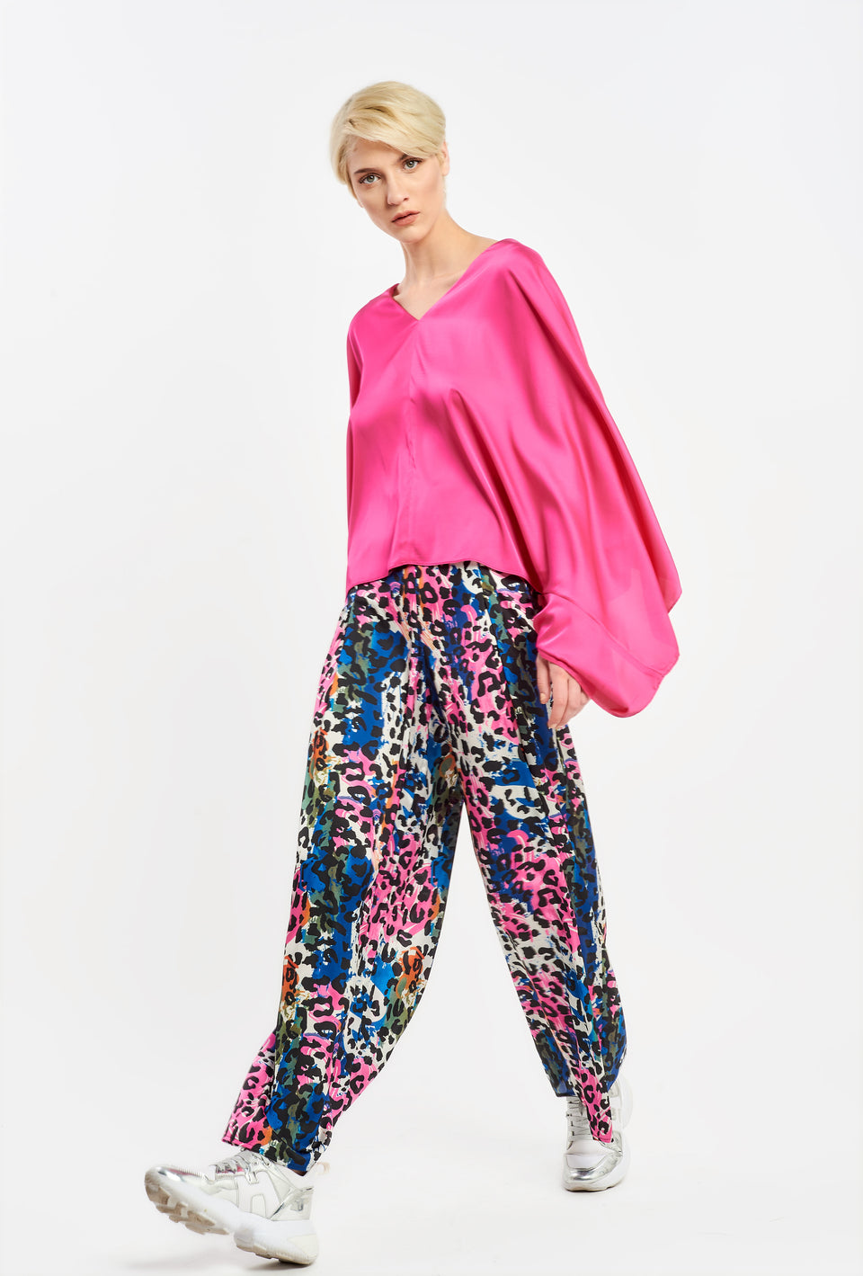 WIDE LEG TROUSERS IN SATEN CAMO WIDE LEG TROUSERS IN SATEN CAMO