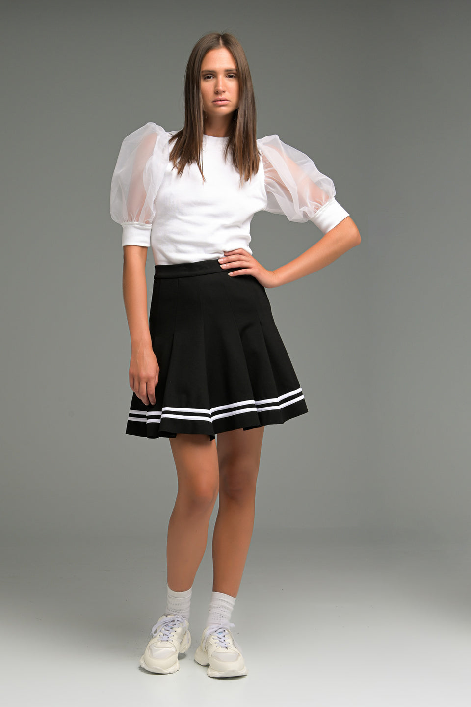 PLEATED MINI SKIRT WITH STRIPE