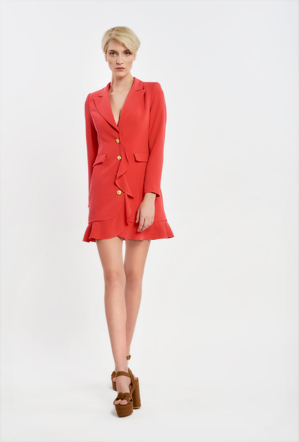 BLAZER DRESS WITH GOLD BUTTONS AND RUFFLE DECORATIVE CORAL
