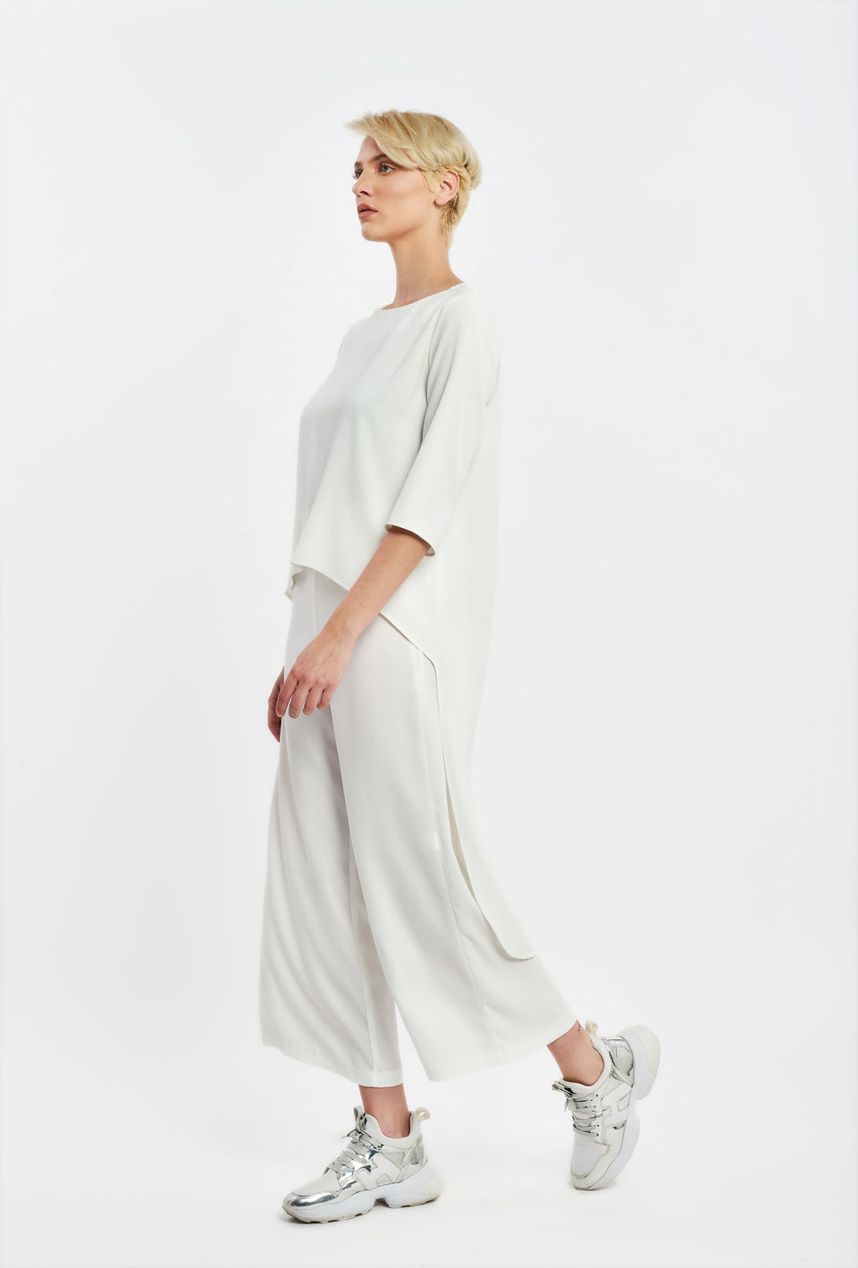 WIDE LEG CROP TROUSERS WHITE