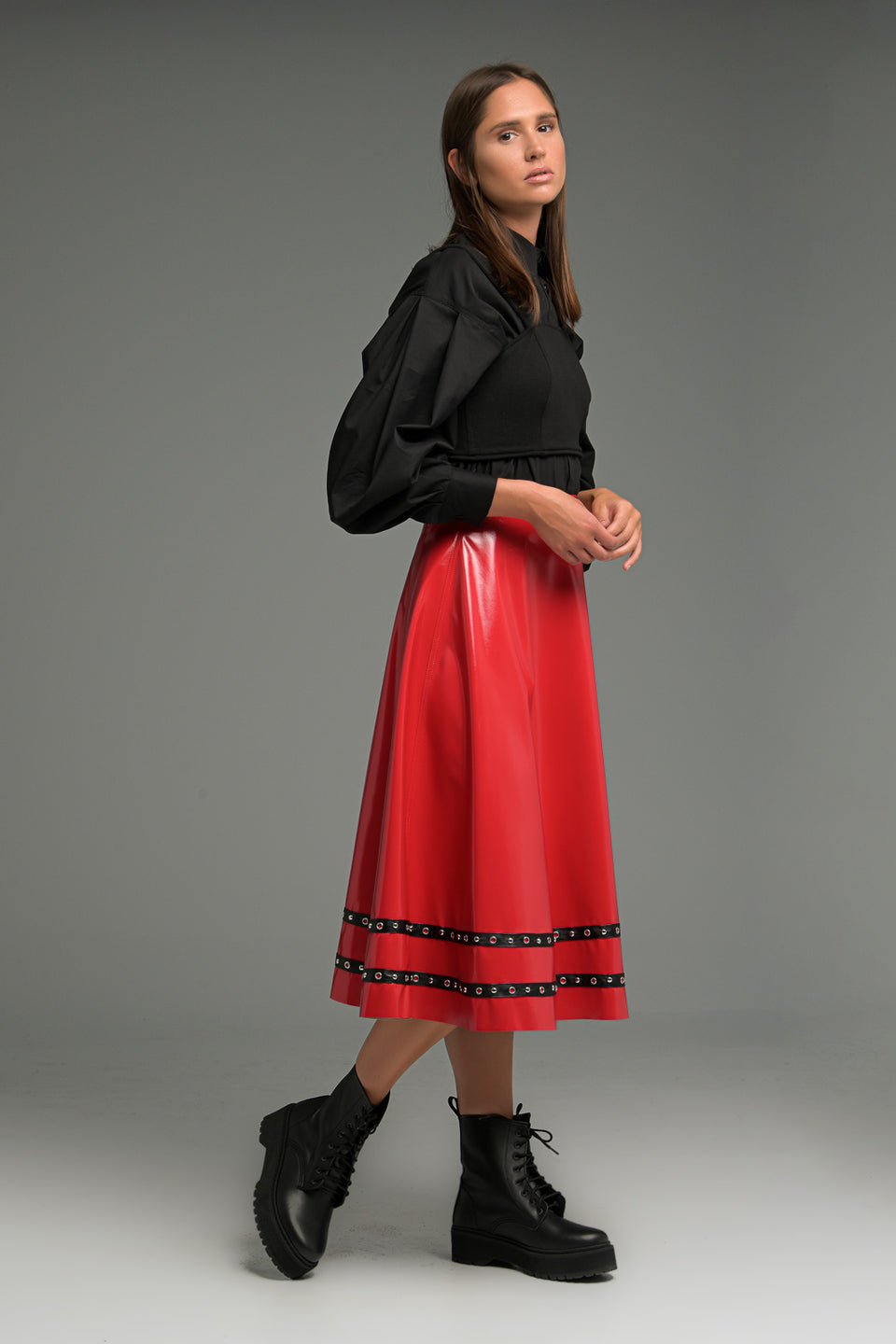 FAUX LEATHER MIDI SKIRT WITH DECORATIVE BRAIDS