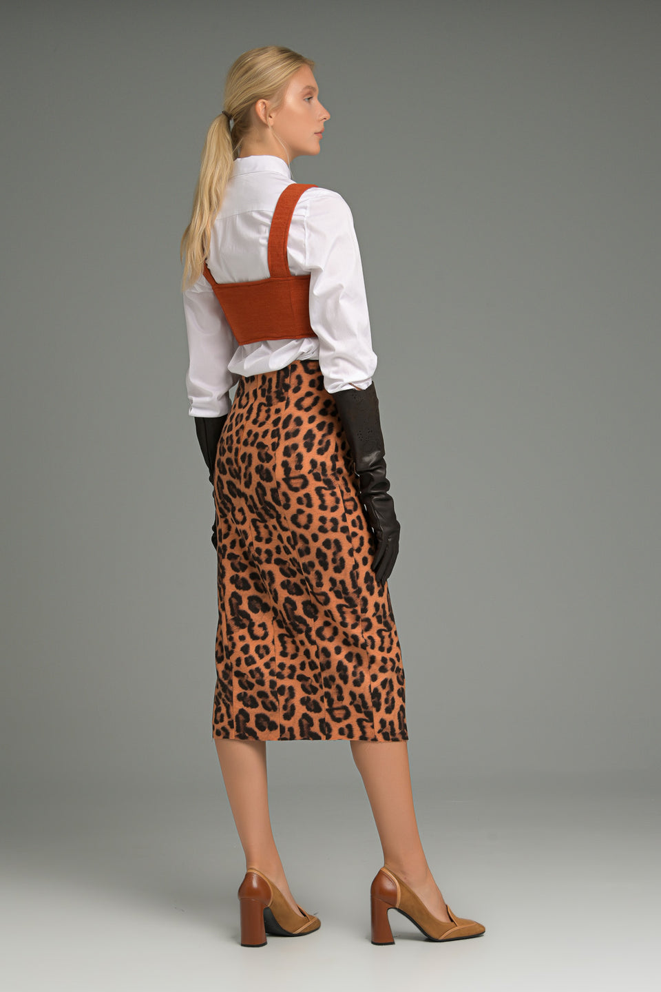 MIDI SKIRT WITH SPLITS IN LEOPARD PRINT MIDI SKIRT WITH SPLITS IN LEOPARD PRINT