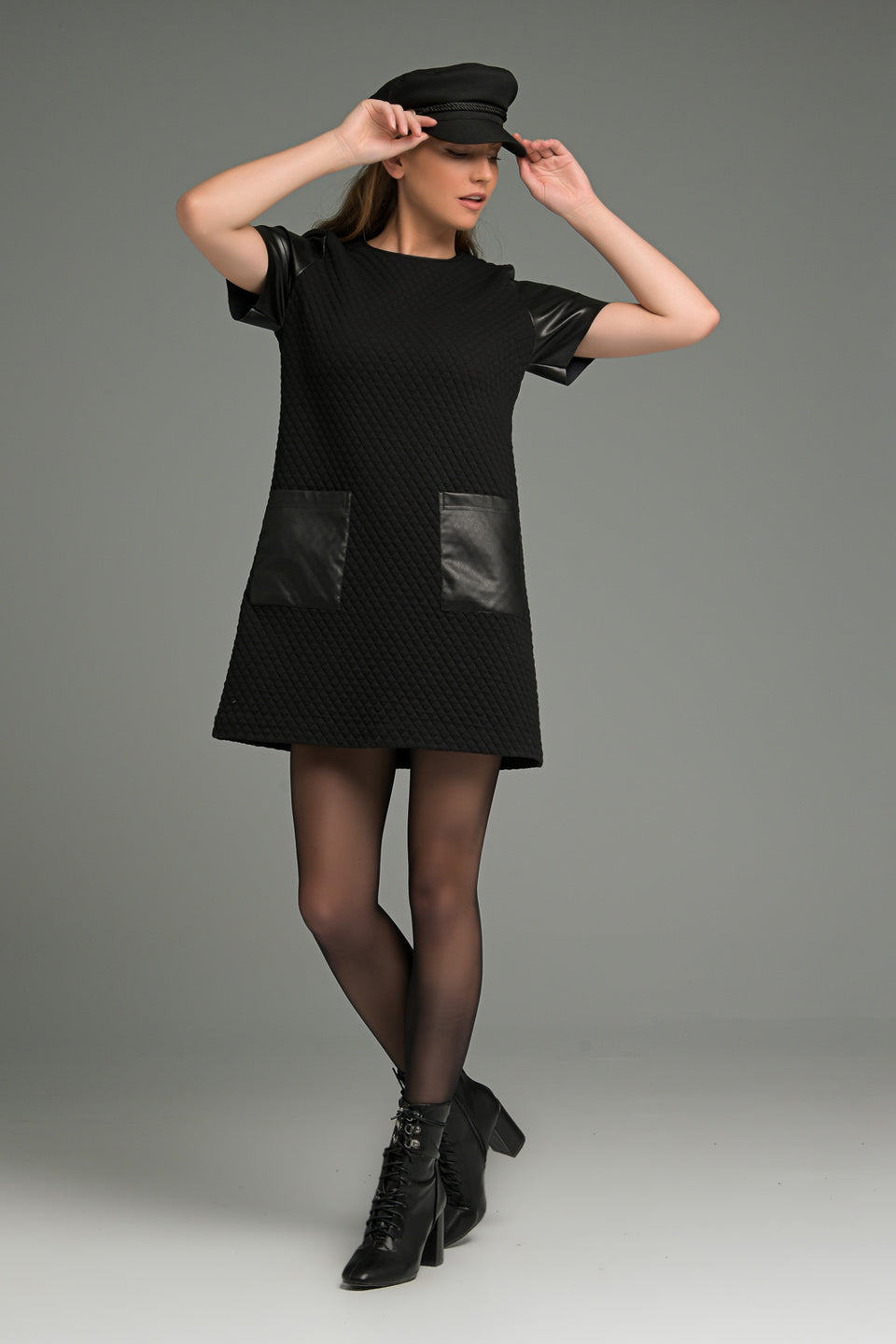 QUILTED A-LINE DRESS WITH FAUX LEATHER DECORATIVE QUILTED A-LINE DRESS WITH FAUX LEATHER DECORATIVE
