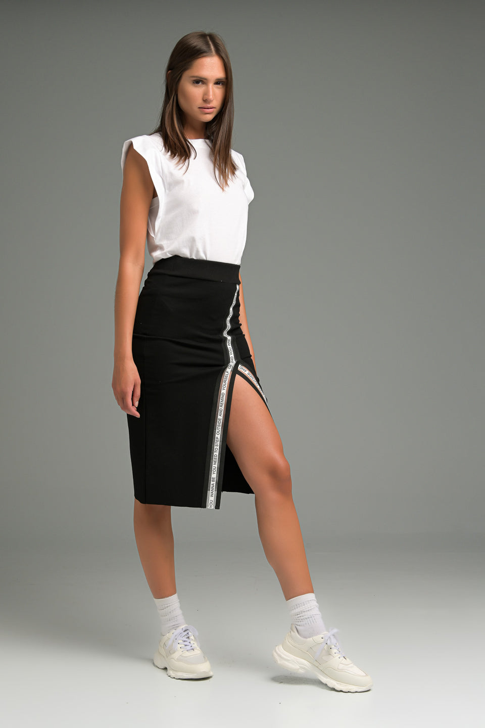 MIDI SKIRT WITH SPLITS AND DECORATIVE BRAIDS