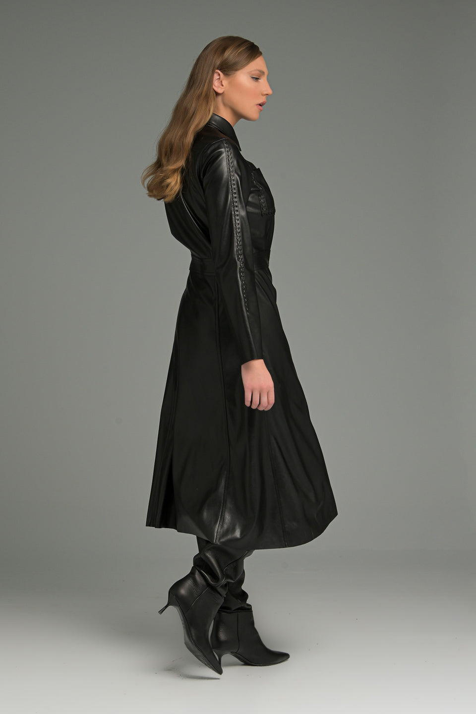 BLACK FAUX LEATHER BUTTON THROUGH MIDI SHIRT DRESS BLACK FAUX LEATHER BUTTON THROUGH MIDI SHIRT DRESS